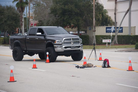 The Stuart Police Department examines the scene on Monterey Road where a pedestrian was hit by a vehicle around 9 a.m. Saturday, Jan. 26, 2019, in Stuart. According to Detective Sgt. Michael Gerwen, a female pedestrian was in stable condition.