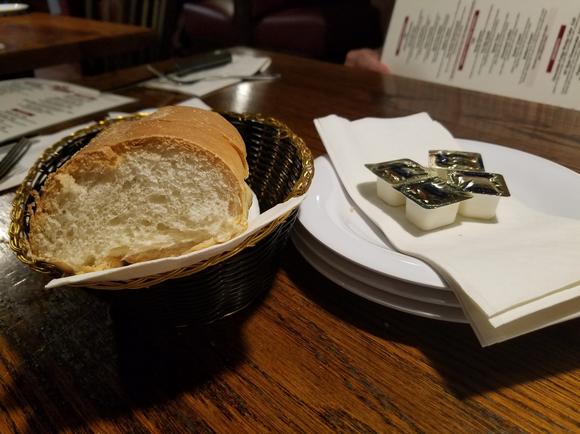 At Bobby Rubino's we received a complimentary loaf of soft Italian bread sourced from a bakery in Fort Lauderdale that also provides the restaurant's sandwich rolls and desserts.