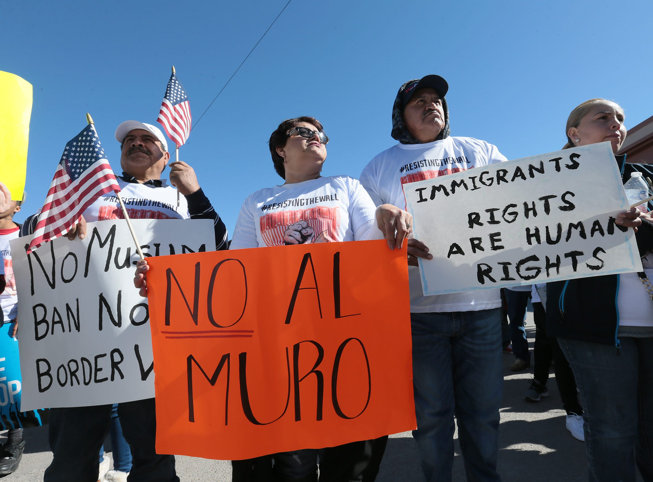 Border Network for Human Rights held a march in downtown El Paso Saturday in protest of the proposed border wall. Hundreds marched from San Jacinto Plaza to the Paso del Norte International Bridge then to Chihuahuita.