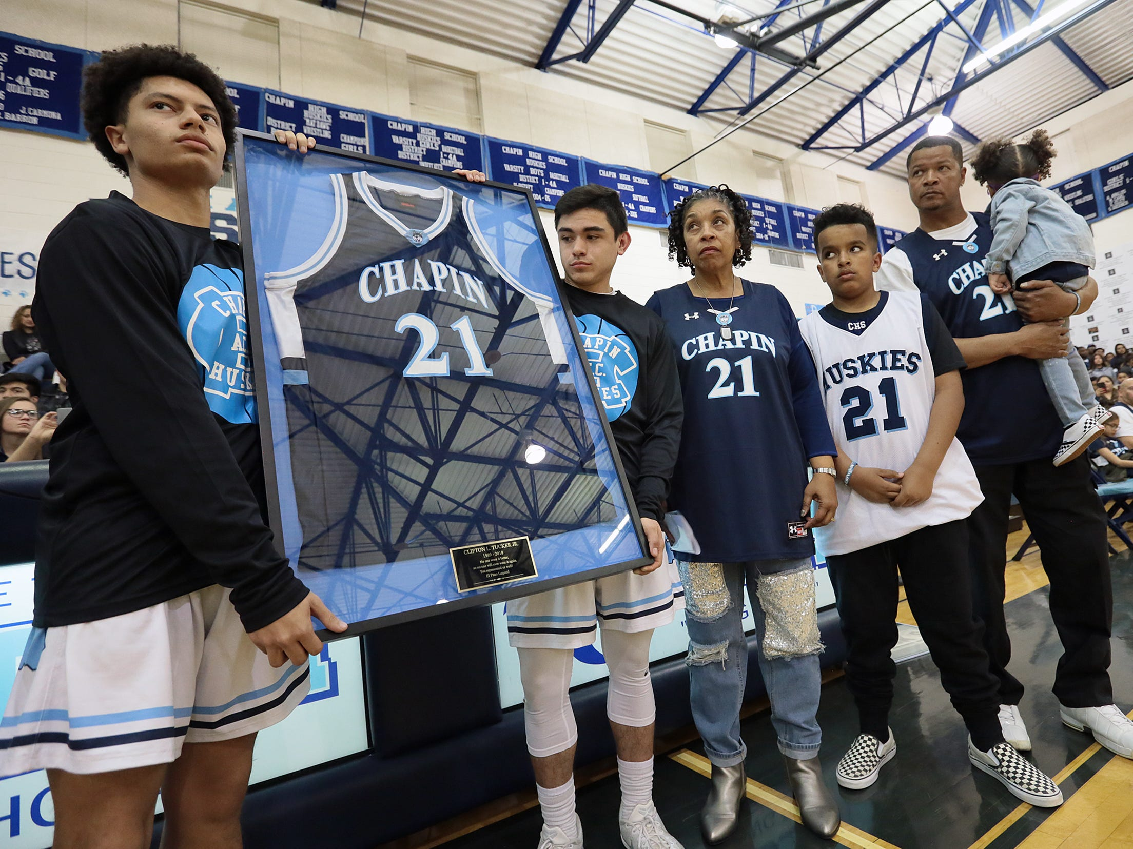 Former Chapin basketball and football star Cliff Tucker had his basketball number retired Friday night before Chapin took on Andress. At Chapin Tucker racked up the honors including District MVP, All Region, All State, McDonald's All American Honorable Mention and was ranked 89th in the nation for high school players. Tucker played for the University of Maryland after graduating from Chapin. Tucker died in a car accident traveling from San Antonio to El Paso on May, 28, 2018.