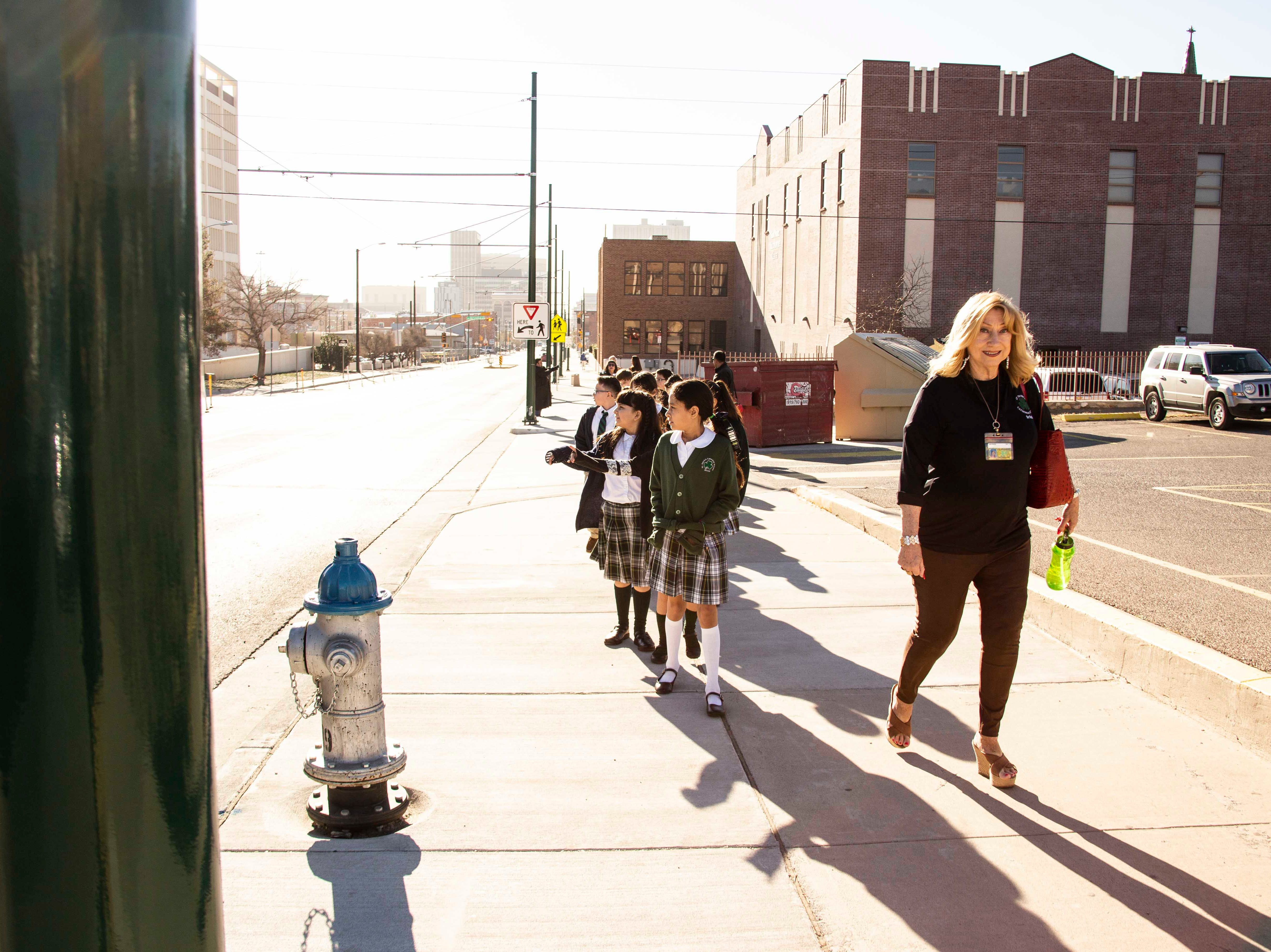 Students at St. Patrick's School, 1111 N Stanton St., celebrated the kickoff of Catholic Schools Week on Friday by riding the streetcars in Downtown El Paso. Catholic Schools Week 2019 will be celebrated from Sunday, Jan. 27, through Saturday, Feb. 2.