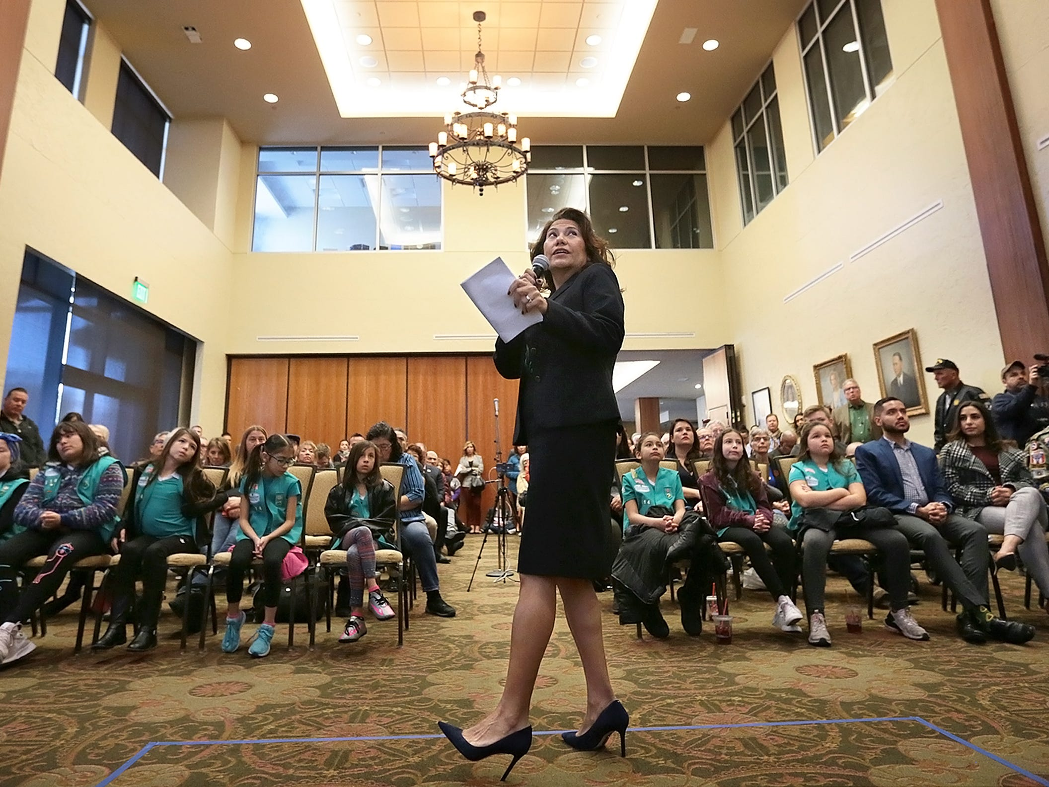 U.S. Rep. Veronica Escobar held her first monthly town hall meeting Saturday at the El Paso Community Foundation. Escobar discussed the government shutdown,  immigration and veteran issues.