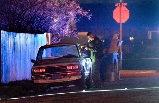 Tulare County Sheriff Department investigates a shooting on Road 67 in Goshen on Friday, January 25, 2019.