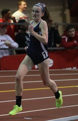 Mary Hennelly of Suffern wins the Girls 1000 Meter Run for Rockland County during Rockland County and Northern CountyTrack and Field Championships at the Armory in Manhattan Jan. 25, 2019.
