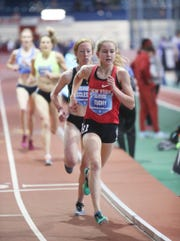 North Rockland's Katelyn Tuohy competes in the invitational 3000-meter run at the Dr. Sander Invitational at the Armory Track & Field Center in New York on Saturday, January 26, 2019.  Tuohy finished with a 9:01.81 time beating the US girls HS National indoor record.