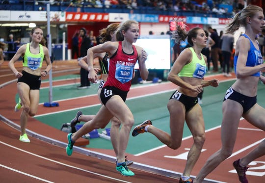 North Rockland's Katelyn Tuohy, center, competes in the invitational 3000-meter run at the Dr. Sander Invitational at the Armory Track & Field Center in New York on Saturday, January 26, 2019.  Tuohy finished with a 9:01.81 time beating the US girls HS National indoor record.
