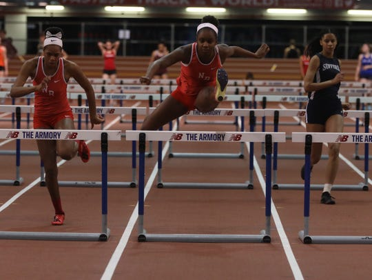 Nadia Saunders of North Rockland wins the Girls 55 Meter Hurdles for Rockland County during Rockland County and Northern County Track and Field Championships at the Armory in Manhattan Jan. 25, 2019.