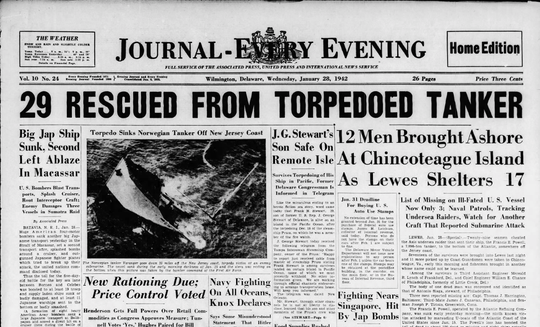 The front page of the Jan. 28, 1942 Journal-Every Evening carries news of the sinking of the tanker Francis E. Powell off the coast of Delmarva.