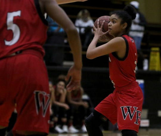 Wichita Falls High School's Ashanti Davis passes in the game against Rider Friday, Jan. 25, 2019, at Rider.