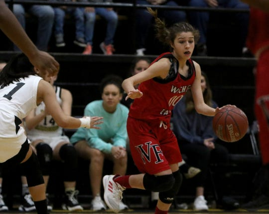 Wichita Falls High School's Baylee Brown dribbles in the game against Rider Friday, Jan. 25, 2019, at Rider.