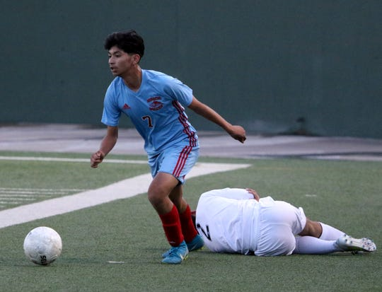 Hirschi's Alex Lara dribbles in the match against Benbrook Friday, Jan. 25, 2019, at Memorial Stadium. The Huskies fell to Benbrook 3-2.