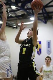 Tri-Valley's Skye Bryan puts up a shot against Maysville.