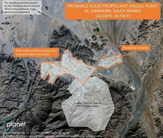 In this satellite image, dated November 13, 2018, by Planet Labs Inc., an annotated by Experts from the Middlebury Institute of International Studies, an alleged base for ballistic missiles and a test facility in Saudi Arabia, is seen outside of the city of Al-Dawadi , Saudi Arabia. An internal military base in Saudi Arabia seems to test and probably produce ballistic missiles, experts and satellite imagery suggesting a potential push of the kingdom into a weapons program that has long criticized its best Iranian owner. (Planet Labs Inc., Middlebridge Institute of International Studies, AP) ORG XMIT: ARE501