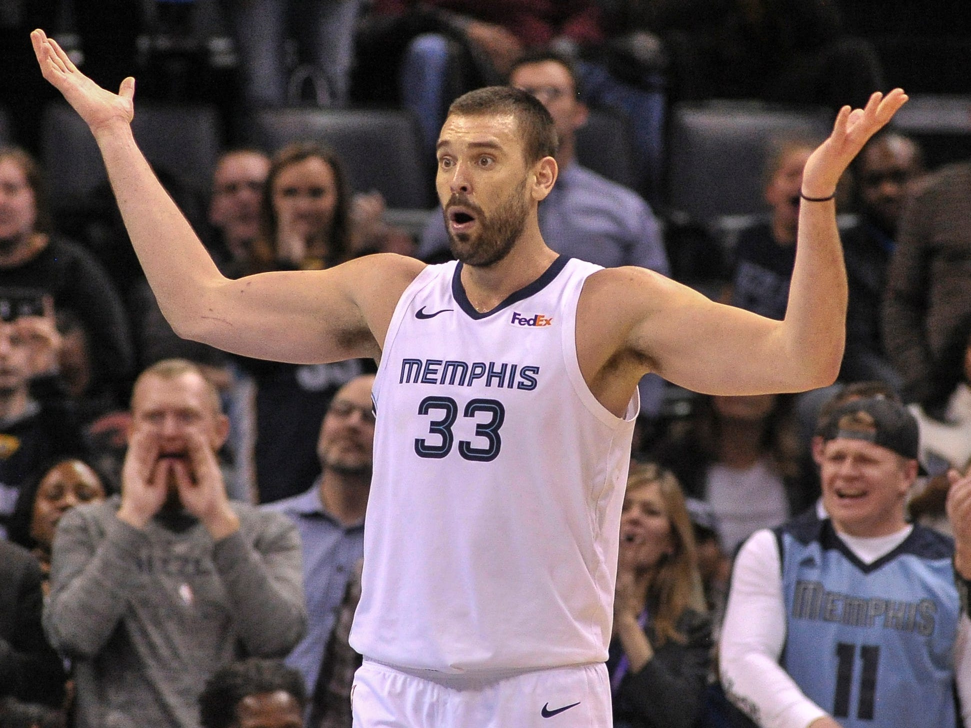 Jan. 25: Grizzlies center Marc Gasol can't believe the call during the second half against the Kings in Memphis.