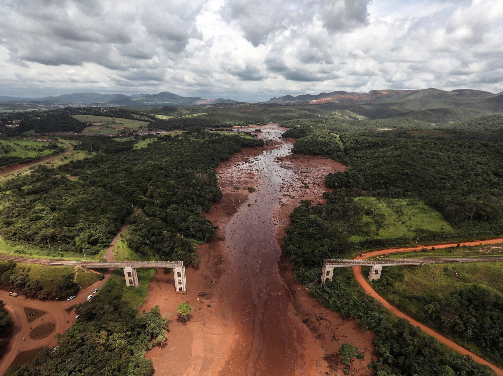 Aerial view over mud and waste from a dam spill in Brumadinho, Minas Gerais, Brazil, Jan. 26, 2019.