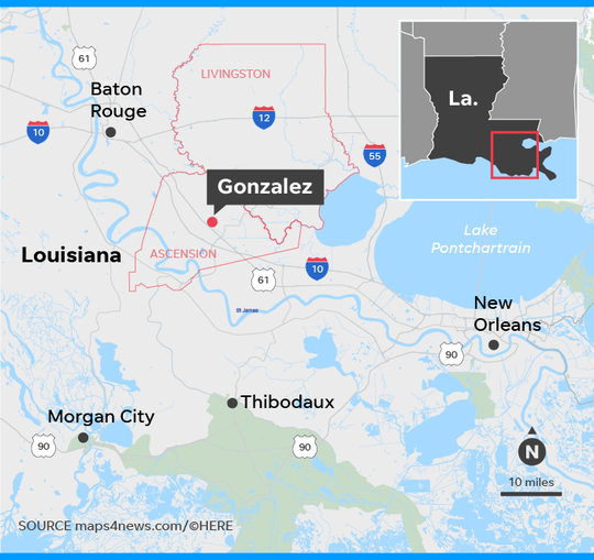 Map locates the city of Gonzalez and parishes of Livingston and Ascension in Louisiana where 5 people have been shot and killed.