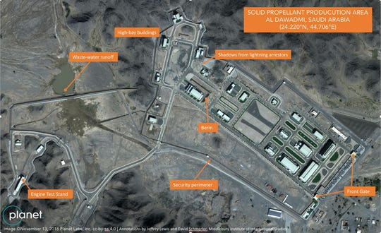 In this Nov. 13, 2018 satellite image from Planet Labs Inc that has been annotated by experts at the Middlebury Institute of International Studies, a suspected Saudi ballistic missile base and test facility is seen outside of the town of al-Dawadmi, Saudi Arabia. A military base deep inside Saudi Arabia appears to be testing and possibly manufacturing ballistic missiles, experts and satellite images suggest, potentially thrusting the kingdom into a weapons program it long has criticized its archrival Iran for possessing. (Planet Labs Inc, Middlebury Institute of International Studies via AP) ORG XMIT: ARE502
