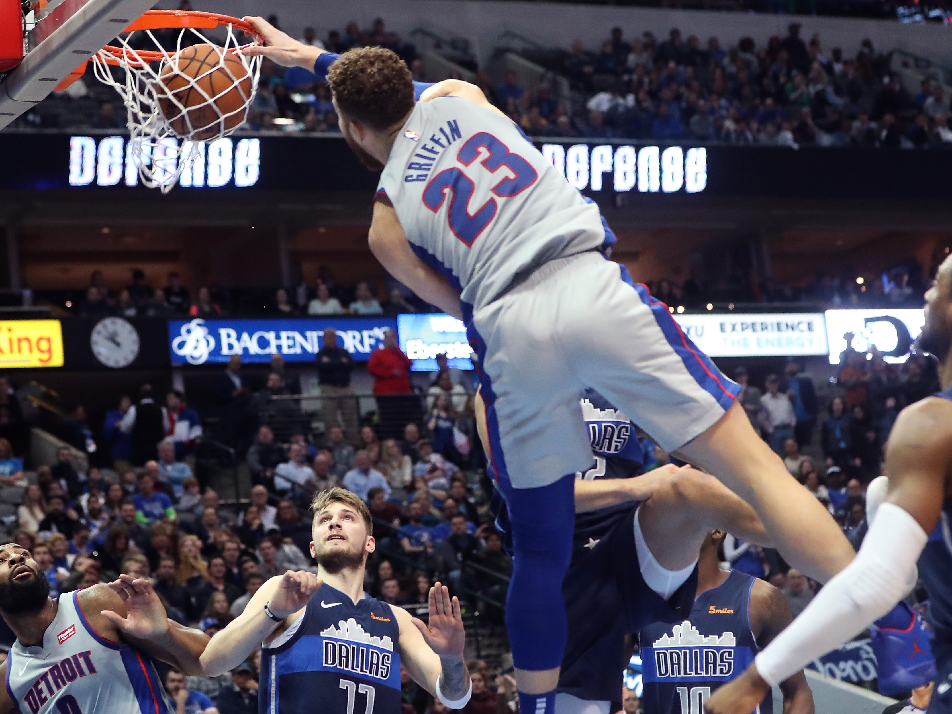 Jan. 25: Pistons forward Blake Griffin rises up to throw down the one-handed slam during the second half against the Mavericks in Dallas.