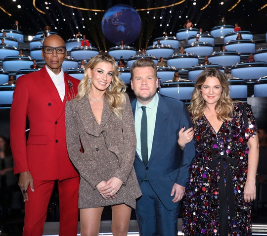 James Corden, second from right, hosts CBS's 'The World's Best,' dealing with international performers and experts and a trio of American judges: RuPaul Charles, left, Faith Hill and Drew Barrymore.