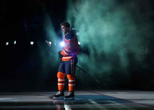 Edmonton Oilers star Connor McDavid is introduced before the fastest skater competition. He won for the third year in a row.