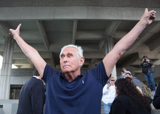 Trump adviser Roger Stone outside the courthouse in Fort Lauderdale, Florida, on Jan. 25, 2019.