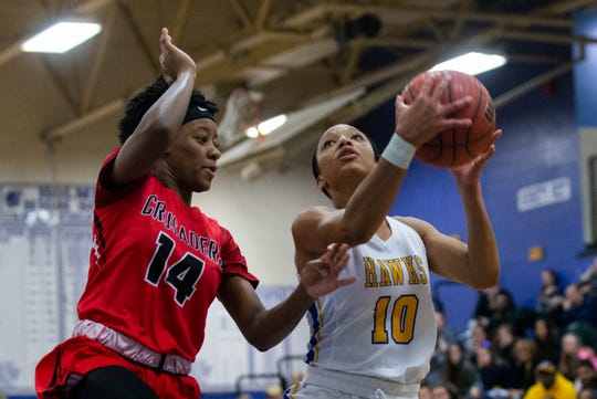 Manchester's Kemari Reynolds goes up with shot against Lutheran's Tamia Lawhorne. Manchester High School Girls Basketball vs Long Island Lutheran HS in Coaches Choice USA Basketball in Holmdel NJ on January 27, 2019.