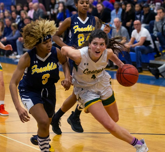 Red Bank Catholic's Justine Pissott drives to the basket against Franklin's Tiana Jackson. Red Bank Catholic vs Franklin Twp. in Coaches Choice USA Basketball in Holmdel NJ on January 27, 2019.