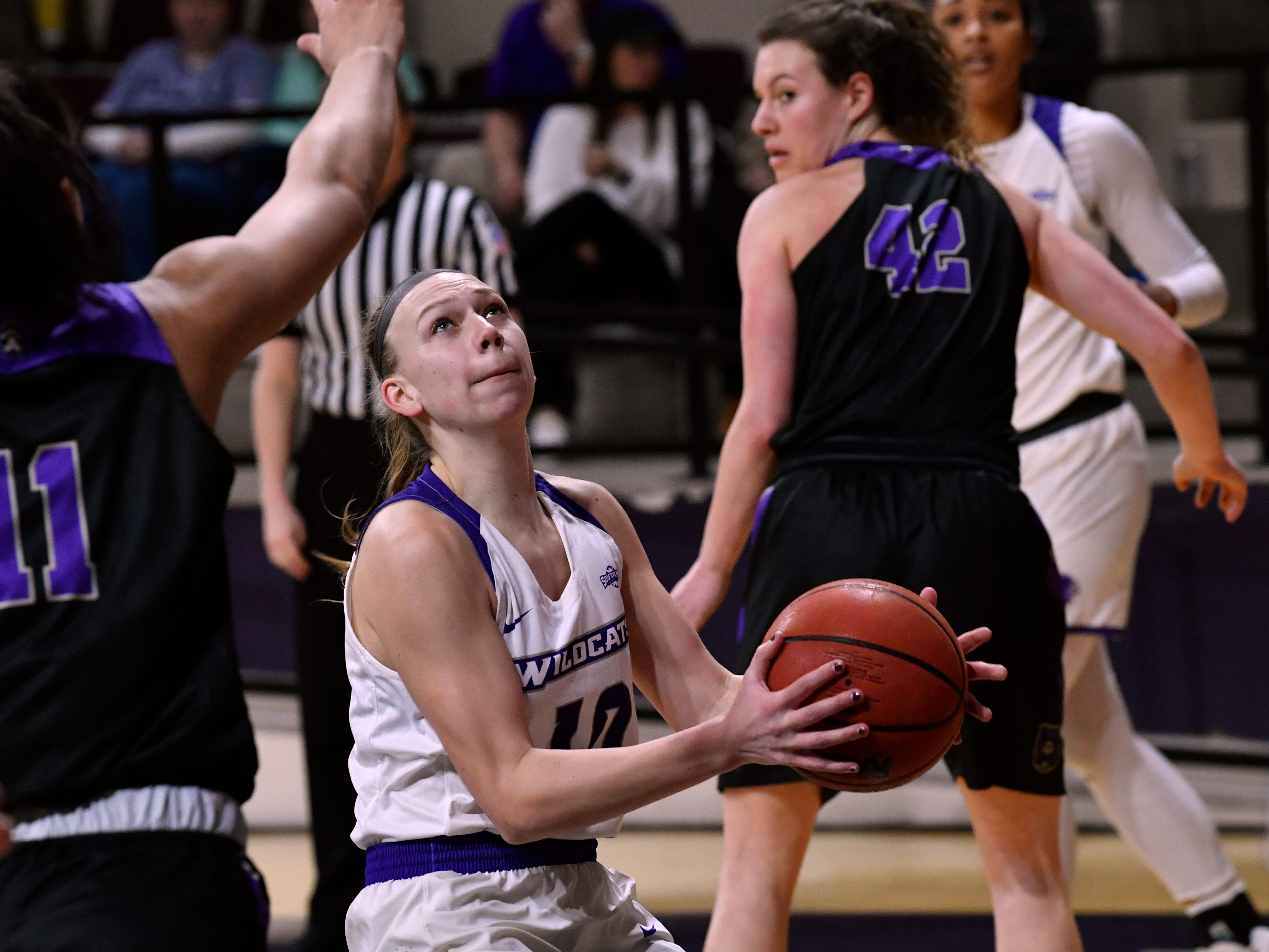 Breanna Wright sets herself for a basket during Abilene Christian University's women's basketball game against Central Arkansas Saturday Jan. 26, 2019. Final score was 77-70, ACU.
