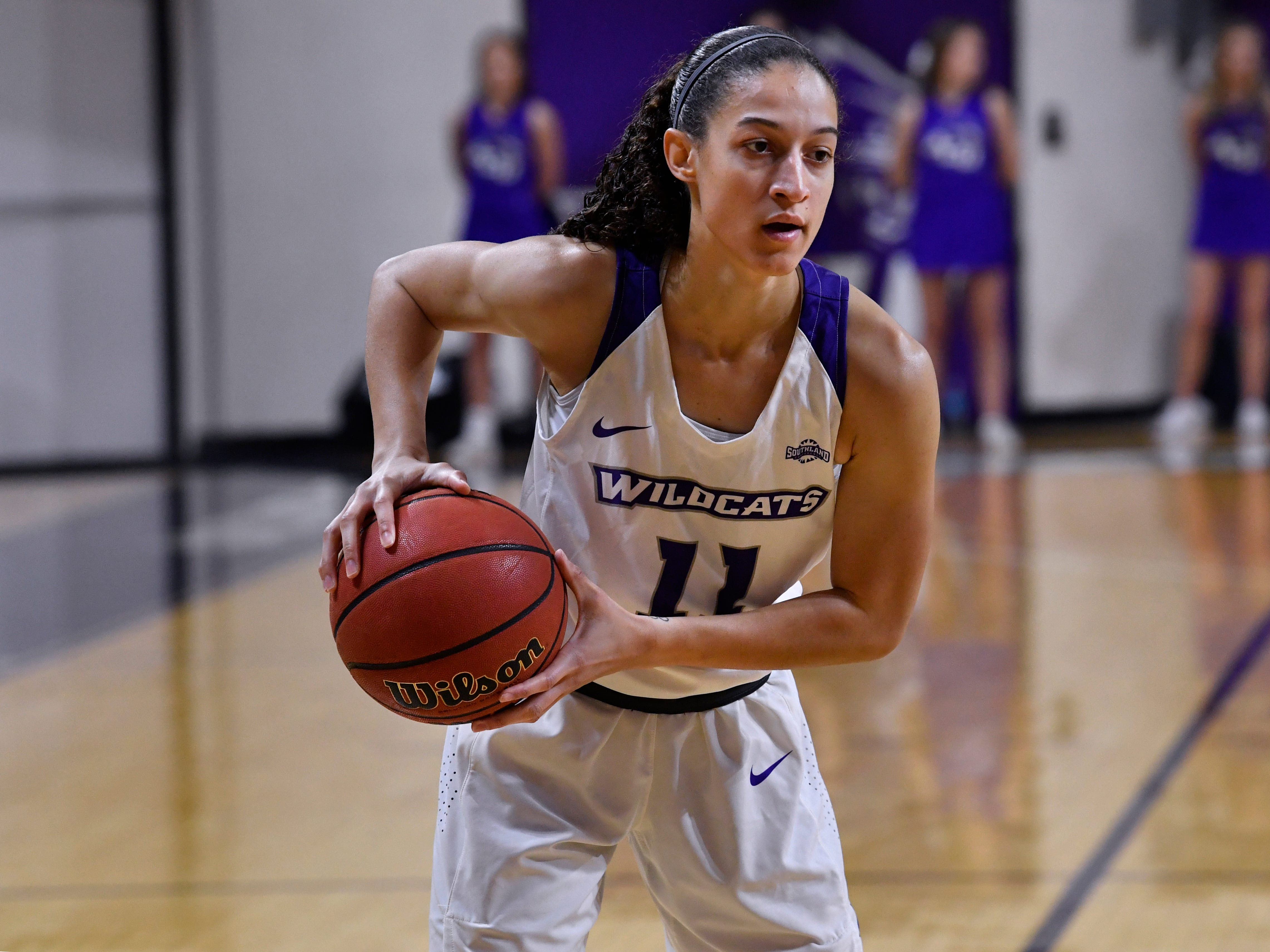 Sara Williamson looks for an opening near the key during Abilene Christian University's women's basketball game against Central Arkansas Saturday Jan. 26, 2019. Final score was 77-70, ACU.