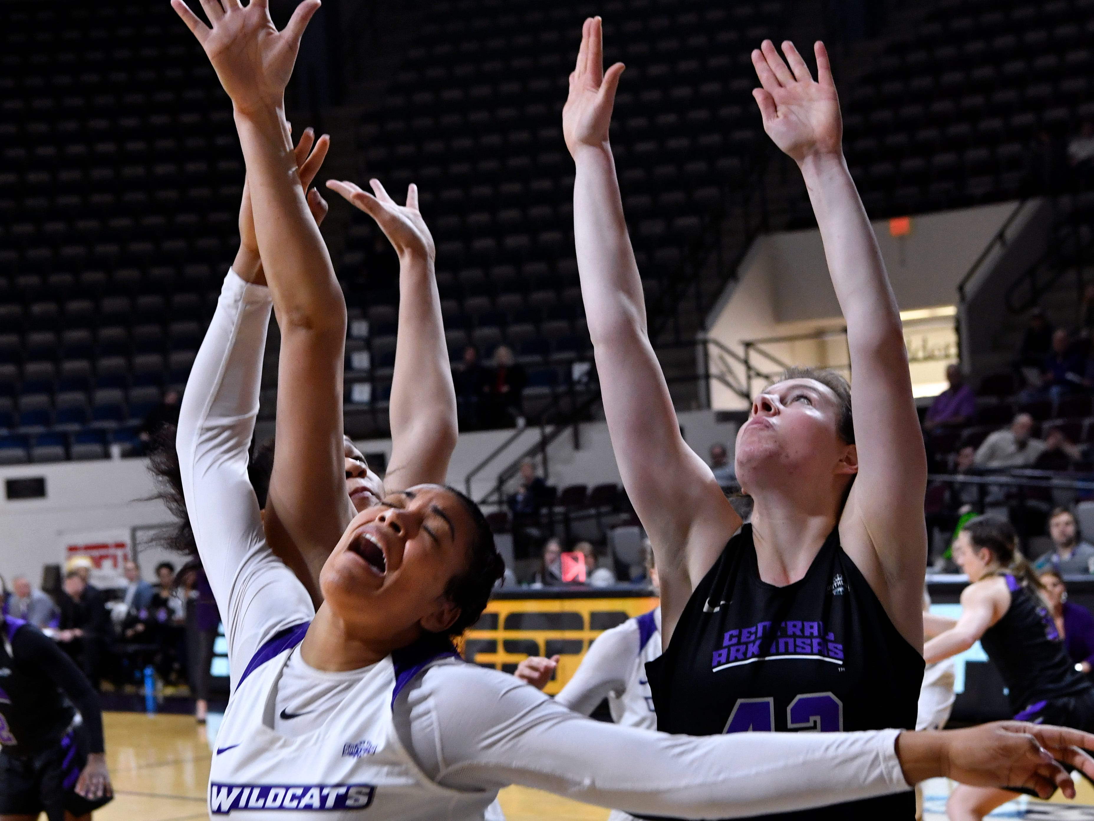 Alyssa Adams is fouled while trying for the basket during Abilene Christian University's women's basketball game against Central Arkansas Saturday Jan. 26, 2019. Final score was 77-70, ACU.