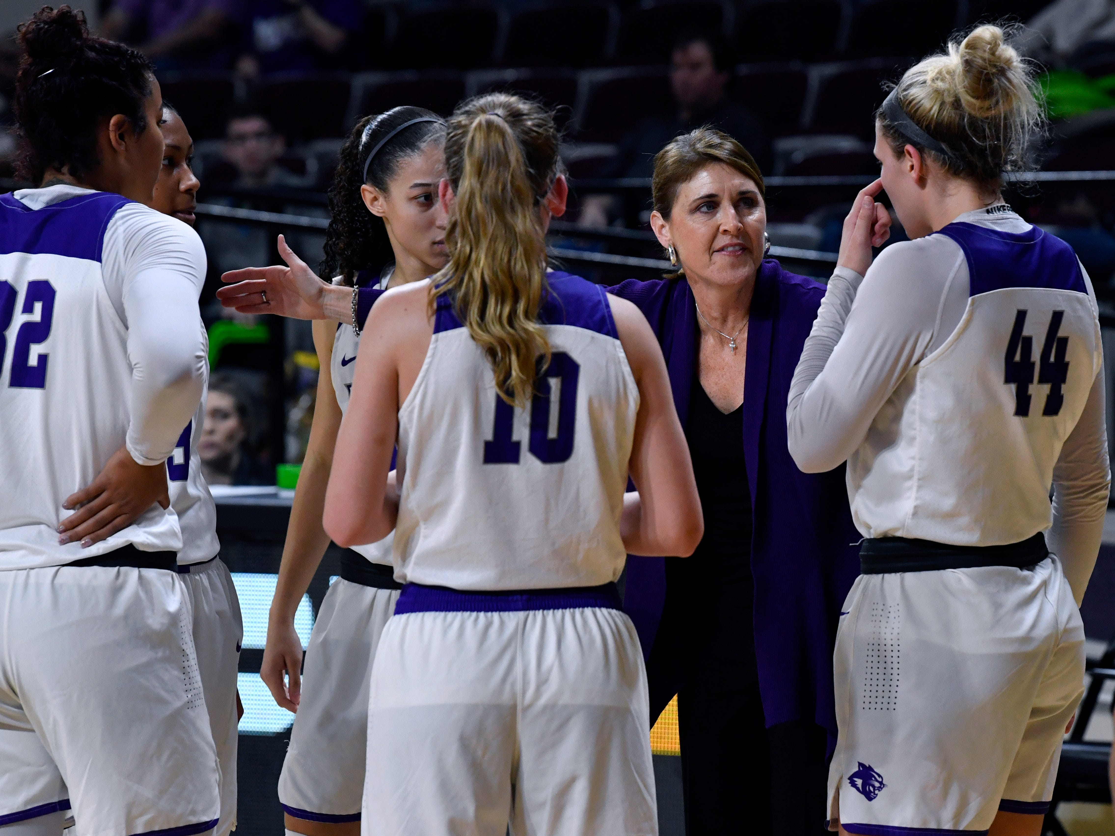 Abilene Christian University Head Coach Julie Goodenough directs her squad during ACU's women's basketball game against Central Arkansas Saturday Jan. 26, 2019. Final score was 77-70, ACU.