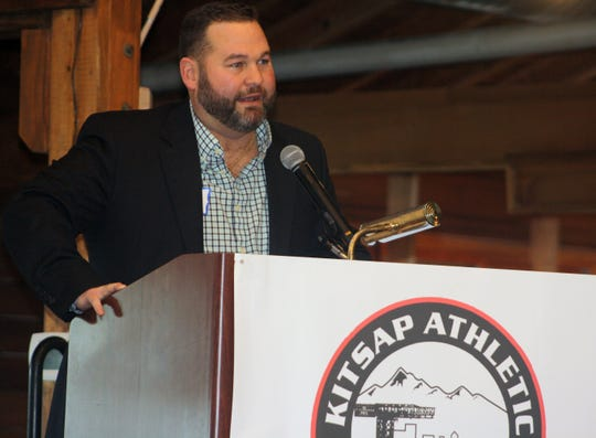 Bremerton boxer Brock Stodden speaks during Saturday's Kitsap Sports Hall of Fame banquet at Kiana Lodge in Poulsbo.