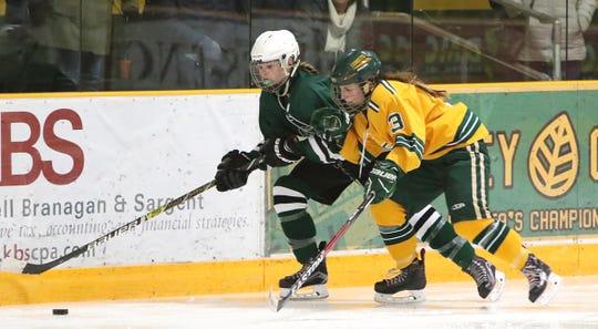 Kylie Corley, left, is one of Rice's key returnees for the 2019-20 high school girls hockey season.