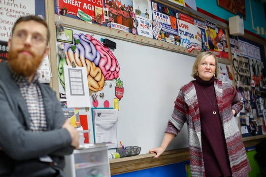 Social studies teachers Judi Galasso, right, and Jonathan Duffy lead the introductory class of their American Thought and Political Radicalism course at Thomas Worthington High School, in Worthington, Ohio.