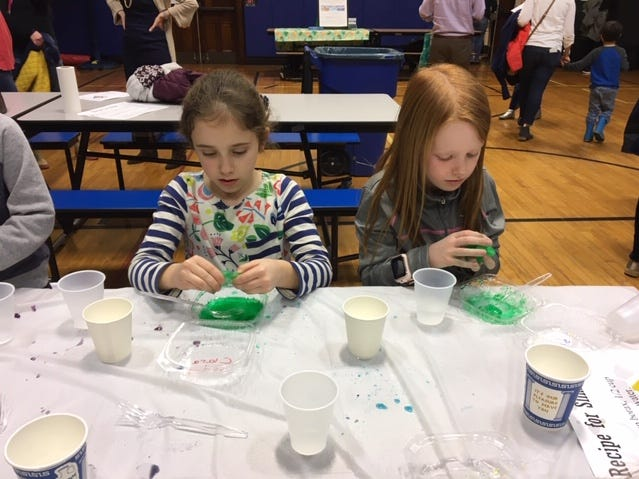 Clara Matus and Julia Thorburn made slime at Westfield's McKinley Elementary School's 6th annual STEM Night.