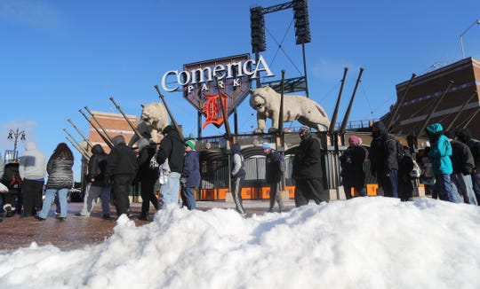 Detroit Tigers fans line up in the cold for TigerFest at Comerica Park, Saturday, Jan. 26, 2019 in Detroit.
