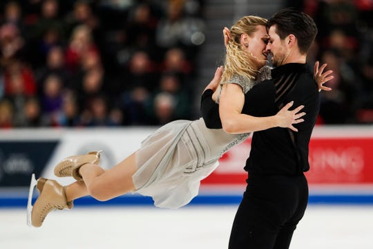 Madison Hubbell and Zachary Donohue perform during the free dance portion of the 2019 U.S. Figure Skating Championships at Little Caesars Arena on Saturday