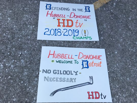 A sign supporting ice dancers Madison Hubbell and Zach Donohue pokes fun at Jeff Gillooly, the notorious ex-husband of Tonya Harding who helped orchestrate the 1994 attack on Harding's rival, Nancy Kerrigan, in Detroit, Michigan. The sign was made before Saturday's ice dance finals at Little Caesars Arena. The U.S. Figure Skating Championships returned to Detroit this week for the first time since the Kerrigan incident at Cobo Arena.