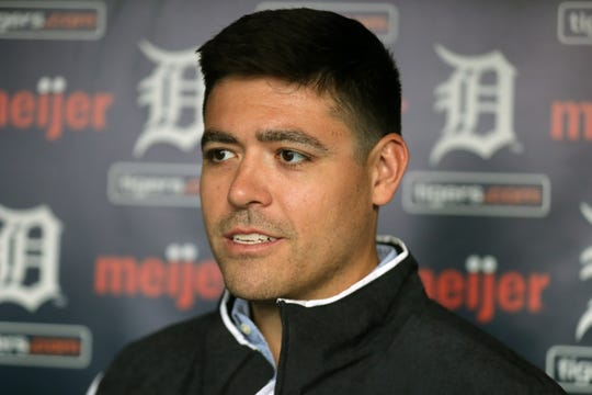 Detroit Tigers pitcher Matt Moore talks with reporters during TigerFest at Comerica Park, Saturday, Jan. 26, 2019 in Detroit.