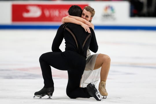 Madison Hubbell hugs Zachary Donohue after their free dance performance during the 2019 U.S. Figure Skating Championships at Little Caesars Arena in Detroit on Saturday.