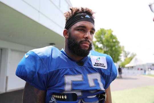 Detroit Lions linebacker Trevor Bates speaks to the media after training camp practice in Allen Park, July 28, 2018.