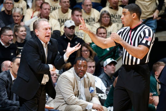 Tom Izzo questions a call against Purdue during the first half of MSU's 73-63 loss.