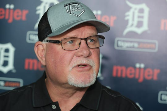 Detroit Tigers manager Ron Gardenhire talks with reporters during TigerFest at Comerica Park, Saturday, Jan. 26, 2019.