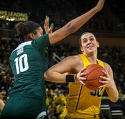 Michigan center Hallie Thome scored 12 points in a 77-73 loss to Michigan State on Jan. 27, 2019, in Ann Arbor.