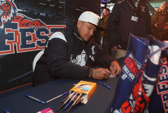 Detroit Tigers' Miguel Cabrera signs autographs for fans during TigerFest at Comerica Park, Saturday, Jan. 26, 2019.