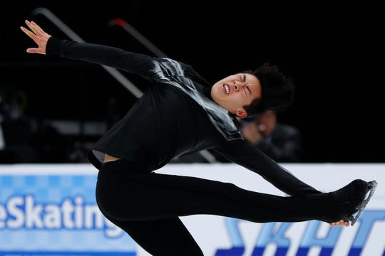 Nathan Chen performs during the men's free skate at the U.S. Figure Skating Championships on Sunday in Detroit.