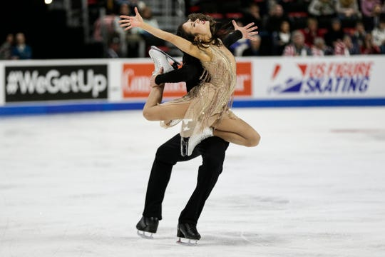 Madison Chock and Evan Bates perform during the free dance portion of the 2019 U.S. Figure Skating Championships at Little Caesars Arena on Sturday. Chock and Bates finished second.