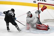 Jimmy Howard of the Detroit Red Wings makes a save against Claude Giroux of the Philadelphia Flyers during the 2019 Honda NHL All-Star Game Saturday at SAP Centerin San Jose, Calif. Howard played 10 minutes in the Atlantic Division's 7-4 loss to Metropolitan Division.