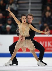 Madison Chock and Evan Bates compete in the championship free dance during the 2019 U.S. Figure Skating Championships Saturday.