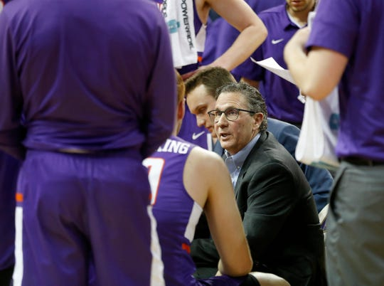 Evansville assistant coach Todd Lickliter talks with players during a time out against Northern Iowa at the McLeod Center in Cedar Falls, Iowa, Saturday, Jan. 27, 2019.